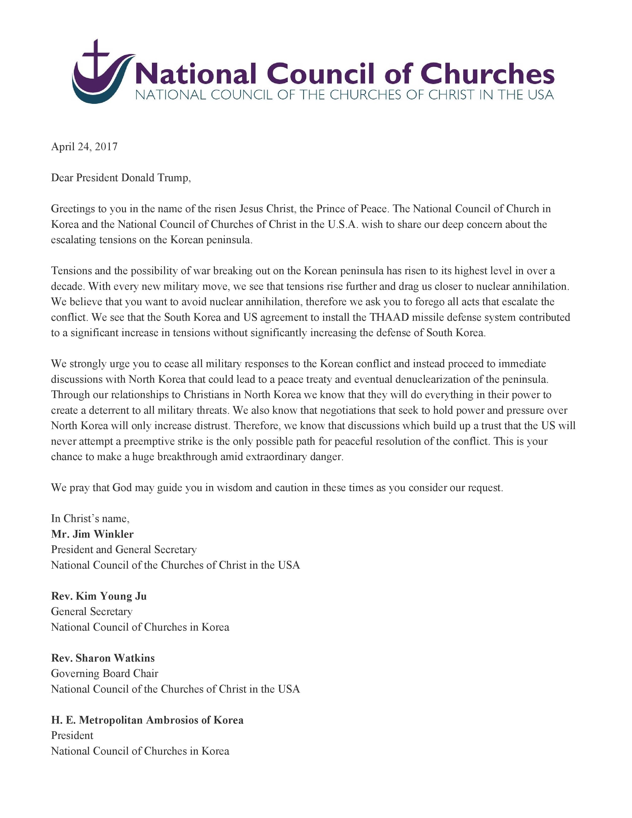 ncccusa letter to president trump for peace in korea